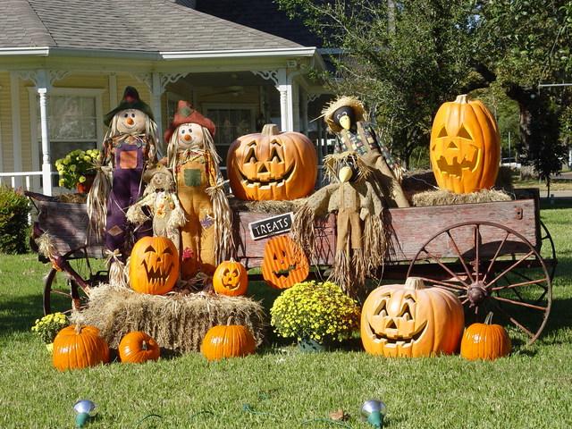 Decorated pumpkins in a garden